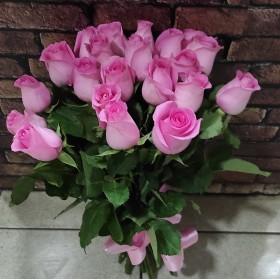 19 розовых роз под ленту