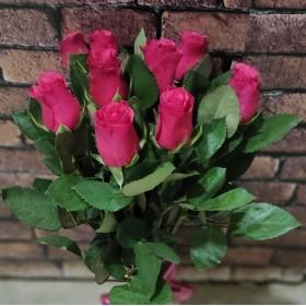 9 красных роз под ленту